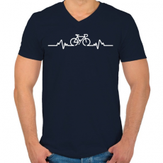 PRINTFASHION BIKE - Férfi V-nyakú póló - Sötétkék
