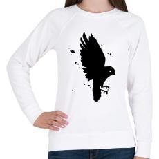 PRINTFASHION Black Bird - Női pulóver - Fehér