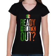 PRINTFASHION Black out - Női V-nyakú póló - Fekete