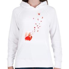 PRINTFASHION Blowing butterflies - Női kapucnis pulóver - Fehér
