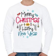 PRINTFASHION Boldog karácsonyt és boldog új évet - Férfi pulóver - Fehér