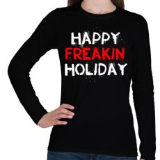 PRINTFASHION Boldog kiba**ott ünnepeket - Női hosszú ujjú póló - Fekete