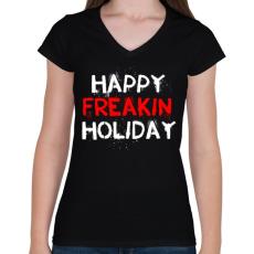 PRINTFASHION Boldog kiba**ott ünnepeket - Női V-nyakú póló - Fekete