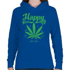 PRINTFASHION Boldogság gyomja - Női kapucnis pulóver - Királykék