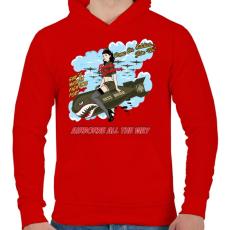 PRINTFASHION Bombázó - Férfi kapucnis pulóver - Piros