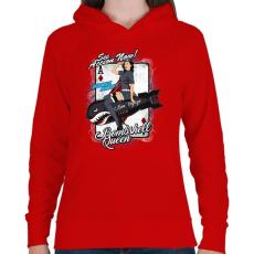 PRINTFASHION Bombázó királynő - Női kapucnis pulóver - Piros
