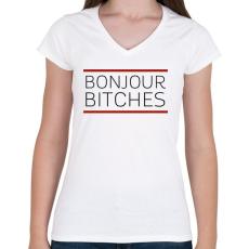 PRINTFASHION BONJUOR - Női V-nyakú póló - Fehér