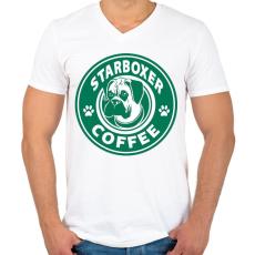 PRINTFASHION Boxer coffe - Férfi V-nyakú póló - Fehér