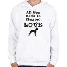 PRINTFASHION Boxer Love - Gyerek kapucnis pulóver - Fehér