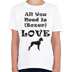 PRINTFASHION Boxer Love - Gyerek póló - Fehér
