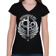 PRINTFASHION Brotherhood Reborn - Női V-nyakú póló - Fekete
