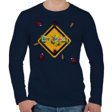 PRINTFASHION Bug Splash android Game - Férfi hosszú ujjú póló - Sötétkék férfi póló