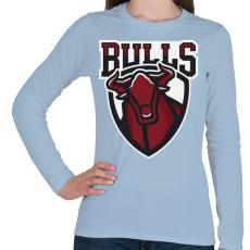 PRINTFASHION Bulls - Női hosszú ujjú póló - Világoskék