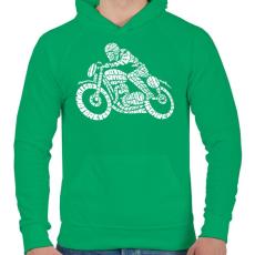 PRINTFASHION Cafe racer - Férfi kapucnis pulóver - Zöld