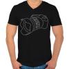 PRINTFASHION Camera - Férfi V-nyakú póló - Fekete
