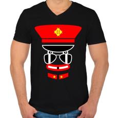 PRINTFASHION captain jack - Férfi V-nyakú póló - Fekete