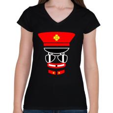 PRINTFASHION captain jack - Női V-nyakú póló - Fekete