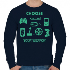 PRINTFASHION choose your weapon - Férfi pulóver - Sötétkék