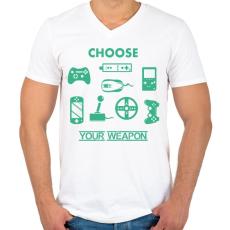 PRINTFASHION choose your weapon - Férfi V-nyakú póló - Fehér