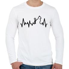PRINTFASHION Cica szívverés - Férfi hosszú ujjú póló - Fehér