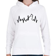 PRINTFASHION Cica szívverés - Női kapucnis pulóver - Fehér