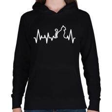 PRINTFASHION Cica szívverés - Női kapucnis pulóver - Fekete