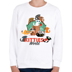PRINTFASHION Cica világ - Gyerek pulóver - Fehér