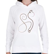 PRINTFASHION Cicmó - Női kapucnis pulóver - Fehér