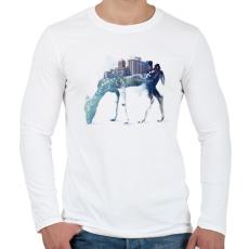 PRINTFASHION City deer - Férfi hosszú ujjú póló - Fehér