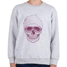 PRINTFASHION Cool skull - Gyerek pulóver - Sport szürke