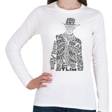 PRINTFASHION Cowboy - Női hosszú ujjú póló - Fehér