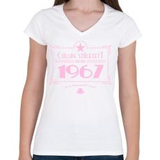 PRINTFASHION csillag-1967-pink - Női V-nyakú póló - Fehér