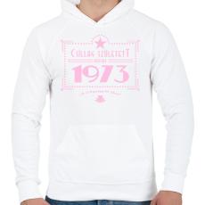 PRINTFASHION csillag-1973-pink - Férfi kapucnis pulóver - Fehér