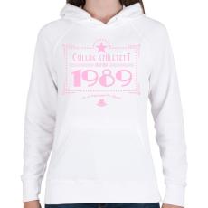 PRINTFASHION csillag-1989-pink - Női kapucnis pulóver - Fehér