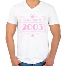 PRINTFASHION csillag-2003-pink - Férfi V-nyakú póló - Fehér