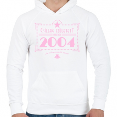 PRINTFASHION csillag-2004-pink - Férfi kapucnis pulóver - Fehér