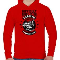 PRINTFASHION Csodás utak - Férfi kapucnis pulóver - Piros