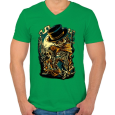 PRINTFASHION Csont bandita - Férfi V-nyakú póló - Zöld