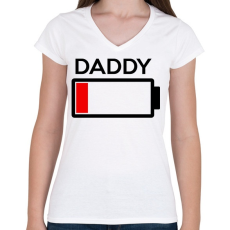 PRINTFASHION DADDY - Női V-nyakú póló - Fehér