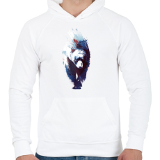 PRINTFASHION Death run - Férfi kapucnis pulóver - Fehér