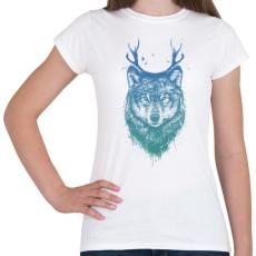 PRINTFASHION Deer wolf - Női póló - Fehér