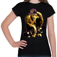 PRINTFASHION Deszkás majom - Női póló - Fekete
