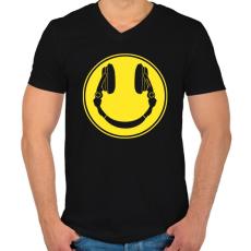 PRINTFASHION DJ Smile - Férfi V-nyakú póló - Fekete
