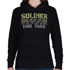 PRINTFASHION Dog tags - Női kapucnis pulóver - Fekete