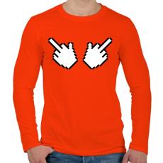 PRINTFASHION Double Fuck - Férfi hosszú ujjú póló - Narancs