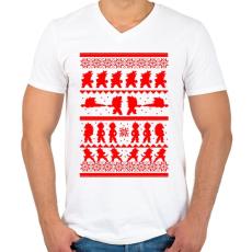 PRINTFASHION Dragonball karácsonyi minta - Férfi V-nyakú póló - Fehér