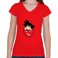 PRINTFASHION Dragonball Son Goku  - ZSEB - Női V-nyakú póló - Piros