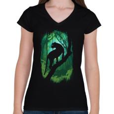 PRINTFASHION Dzsungel könyve - Női V-nyakú póló - Fekete