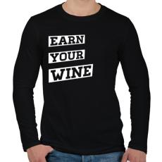 PRINTFASHION EARN YOUR WINE - Férfi hosszú ujjú póló - Fekete