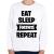 PRINTFASHION Eat-Sleep-Fortnite-Repeat - Gyerek pulóver - Fehér